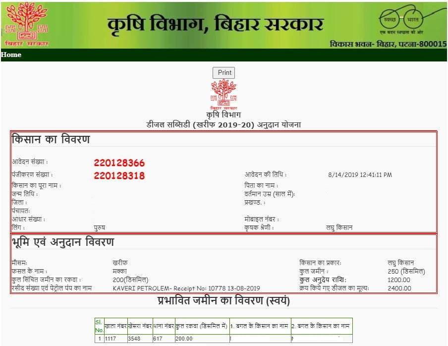 Bihar-Diesel-Anudan-status
