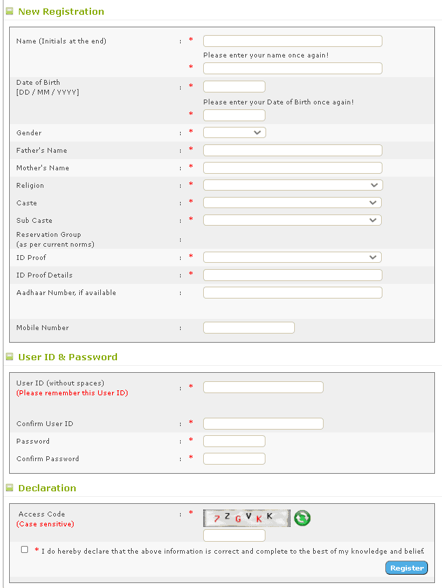 KPSC-portal-registration-form