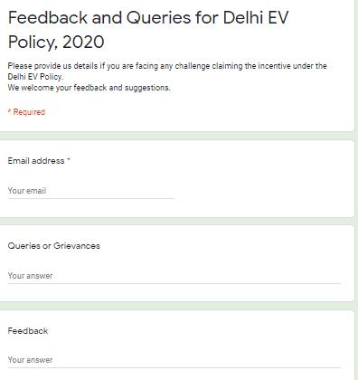Delhi Electric Vehicle Policy-feedback